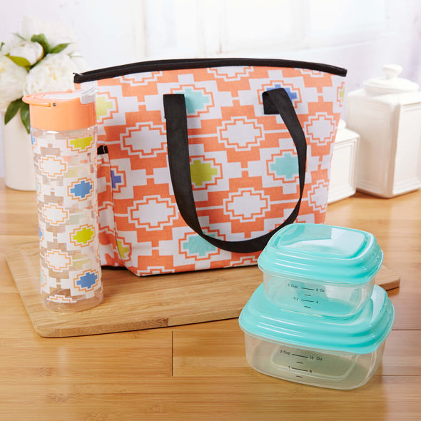 Huntsville Insulated Lunch Bag Set with Reusable Containers & Alpine Water Bottle - Ladies' Bag - Fit & Fresh