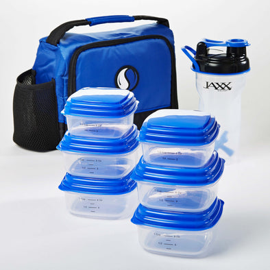 Healthy Eating Meal Pack with Portion Control Containers & 28 oz. Shaker Bottle - Mens' Bag - Fit & Fresh