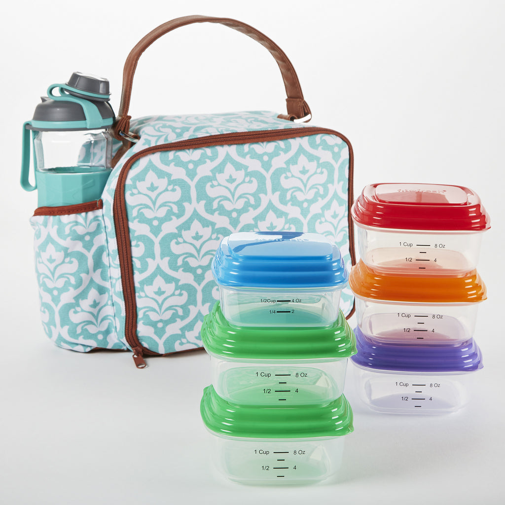 Roseville Insulated Lunch Bag Set with My Plate Meal Prep Containers and 24 oz Jaxx Active Sport Bottle