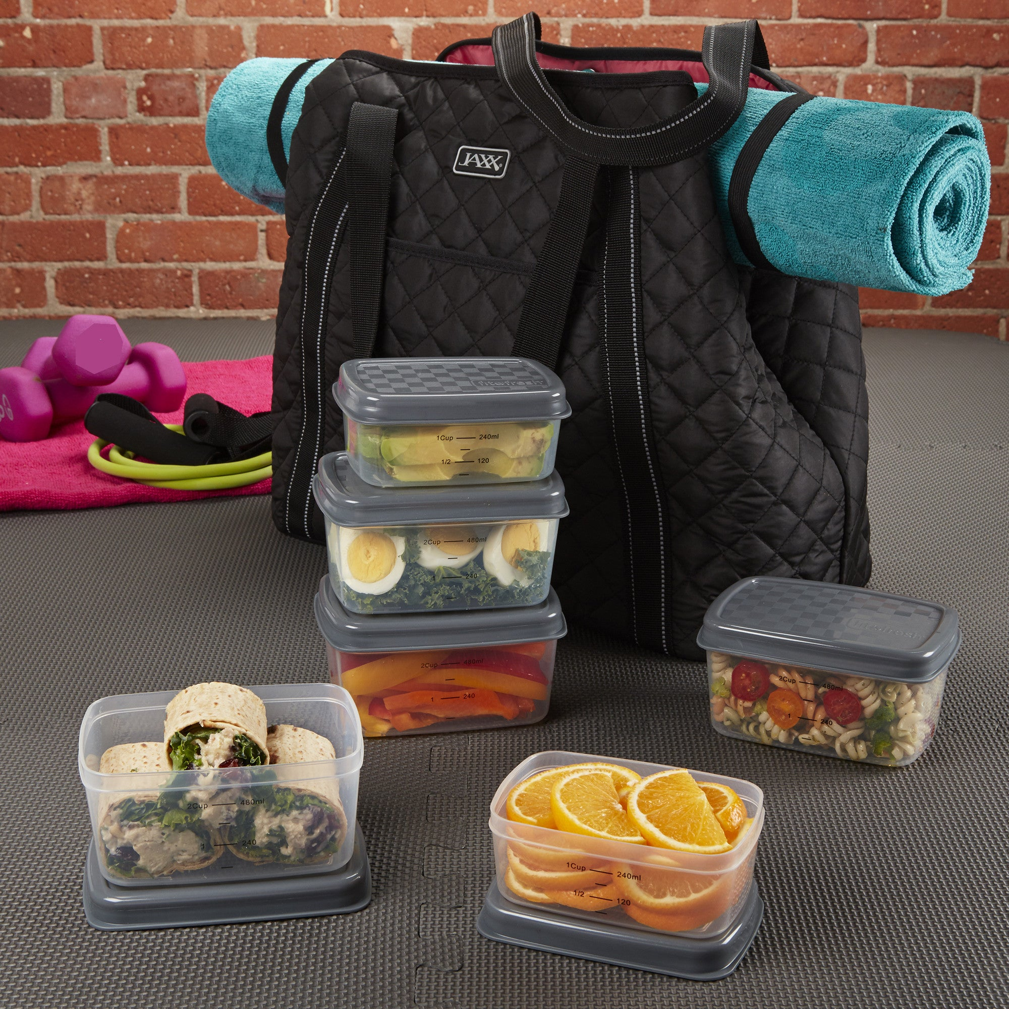 b10538064f3 Jaxx Quilted FitPak Meal Prep Yoga Bag with Portion Control Container Set