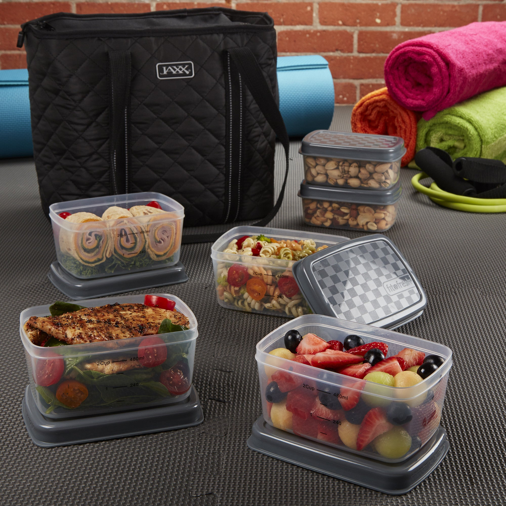 3e4afdfc03d Jaxx Quilted FitPak Meal Prep Bag with Portion Control Container Set ...