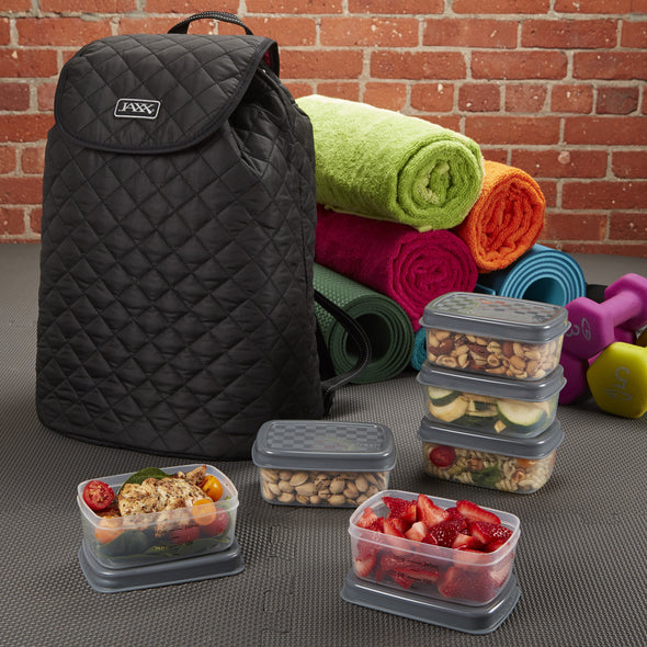 Jaxx Quilted FitPak Meal Prep Backpack with Portion Control Container Set - Jaxx - Fit & Fresh