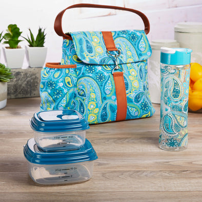 Fayetteville Insulated Lunch Bag Set with Reusable Containers & Alpine Water Bottle - Ladies' Bag - Fit & Fresh