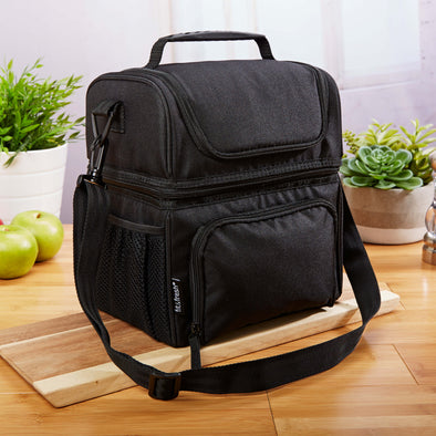 Dual Compartment Insulated Lunch Cooler Bag with Shoulder Strap - Mens' Bag - Fit & Fresh