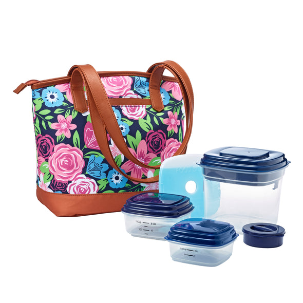 Navy Multi Bouquet Inglewood Lunch Bag Kit - Lunch Bags - Fit & Fresh