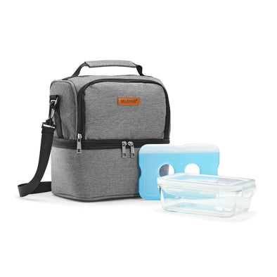 Insulated Cooler Bag with Glass Meal Prep Container - Lunch Bags - Fit & Fresh