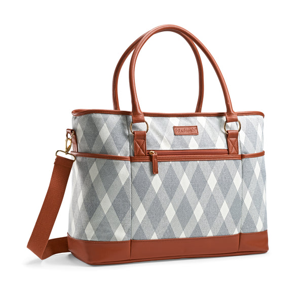 Large Travel Tote Bag/Carry On, Liza Plaid Grey - Travel - Fit & Fresh