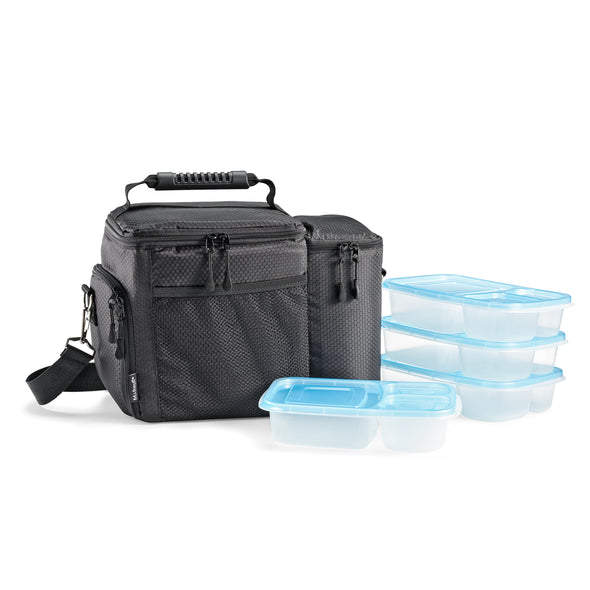 Meal Prep Bag with Set of 4 Reusable Meal Prep Containers -  - Fit & Fresh