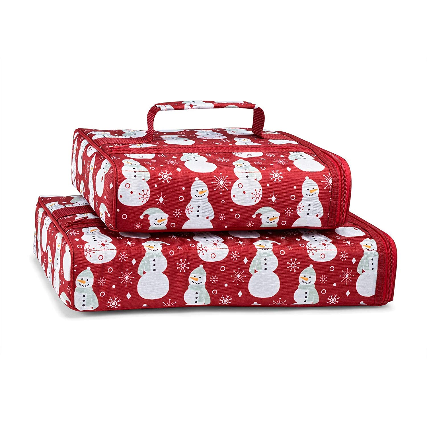 Scarlet Snowman Set of 2 Casserole Carriers