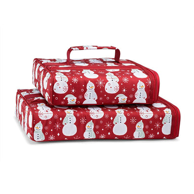 Scarlet Snowman Set of 2 Casserole Carriers - Chilled Serveware Entertaining - Fit & Fresh