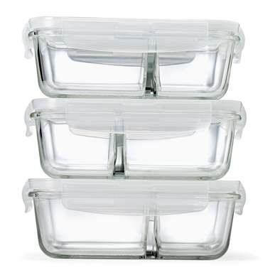 Set of 3 Divided Glass Container Set - Glass Container (Not Plastic) - Fit & Fresh