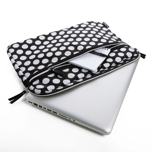 Slim Padded Laptop Sleeve (Black Double Dot) - Laptops - Fit & Fresh