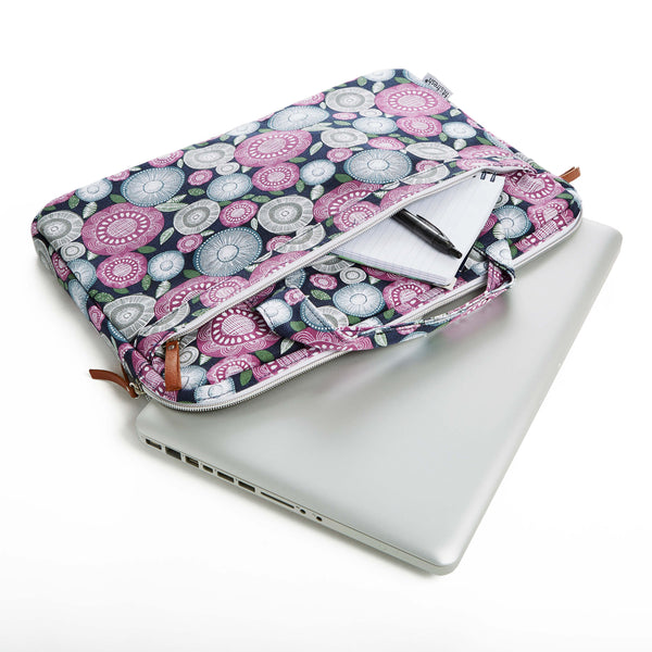 Padded Laptop Case With Handles (Navy Flower Scramble) - Laptops - Fit & Fresh