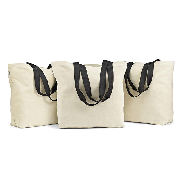 Large Canvas Grocery Totes (Set of 3) -  - Fit & Fresh