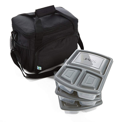 Medium Cooler Bag Meal Prep Kit with 3 JAXX Bento-Style Divided Containers - Cooler - Fit & Fresh