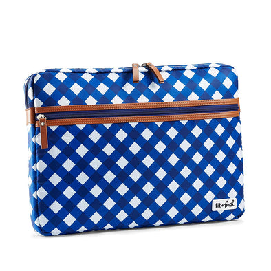 Classic Navy Gingham Slim Padded Laptop Case -  - Fit & Fresh
