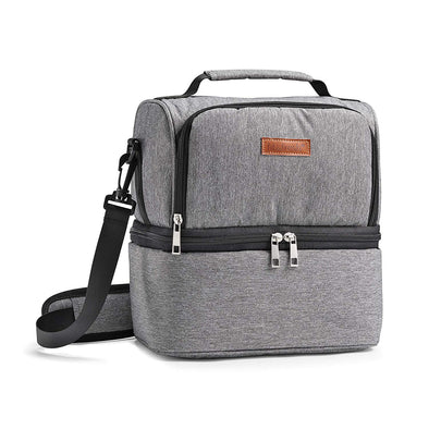 Gray Double Decker Insulated Cooler Lunch Bag -  - Fit & Fresh