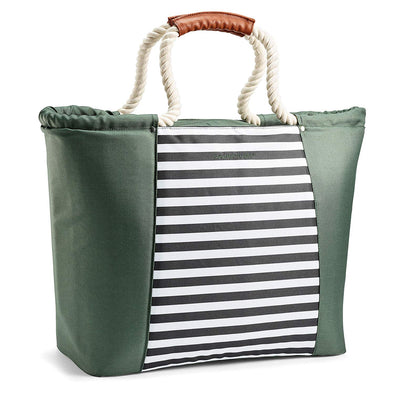 Rachael Ray Green with Black Nautical Stripes Boat Tote -  - Fit & Fresh