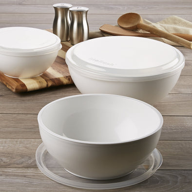 Freezable Chilled Serving Bowls with Lids (Set of 3) - Chilled Serveware Entertaining - Fit & Fresh