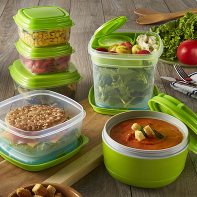 Fresh Selects 17-Piece Portion Container Set - Plastic Container - Fit & Fresh