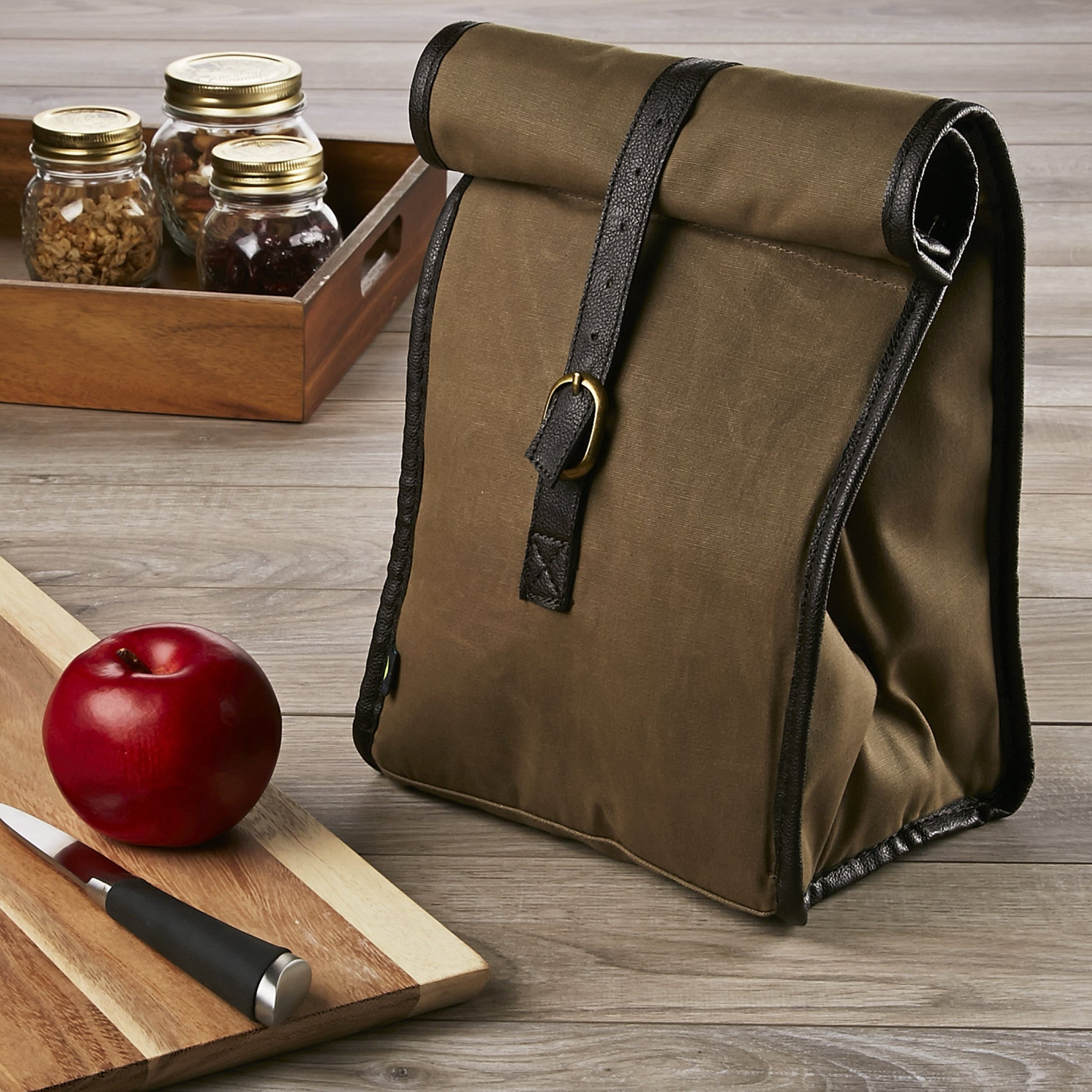 Classic Roll Top Insulated Lunch Bag with Ice Pack
