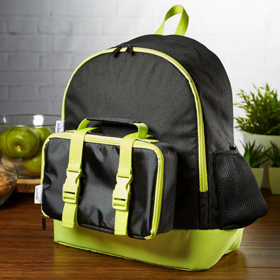 Kids' School Backpack & Matching Bento Lunch Box Set (Black & Neon) - Kids' Bag Kit - Fit & Fresh