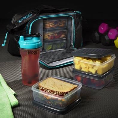 Jaxx FitPak XL Meal Prep Bag with Portion Control Containers (Teal) - Jaxx - Fit & Fresh