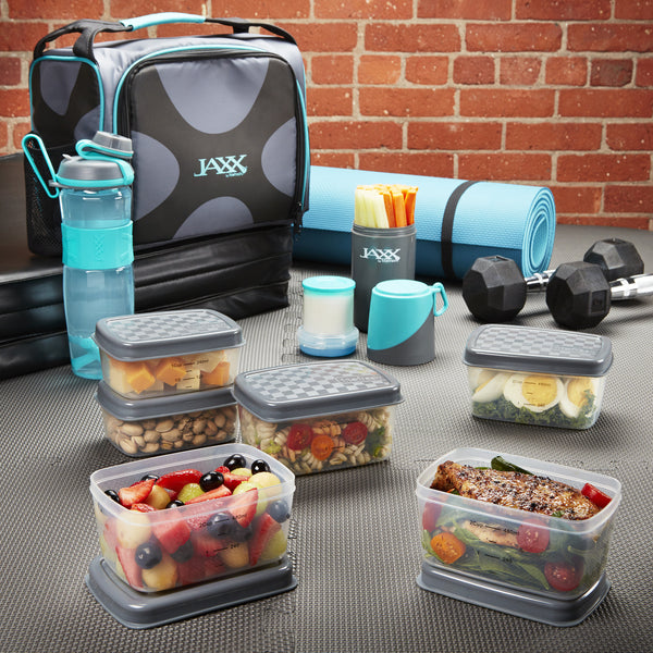Jaxx FitPak Deluxe Meal Prep Bag with Portion Control Container Set
