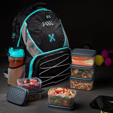Jaxx FitPak Meal Prep Backpack with Portion Control Container Set and Shaker Cup - Jaxx - Fit & Fresh