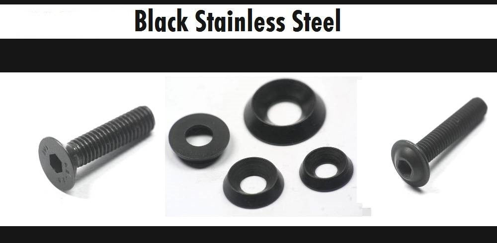 Black Stainless Steel Countersunk Cup Washers and Socket Button Flange Screws