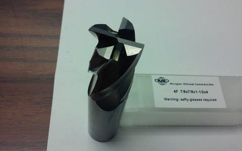 "7/8""x1-1/2x4 Solid Carbide End Mills, 4flt s/e,center-cutting. #1006-7/8"