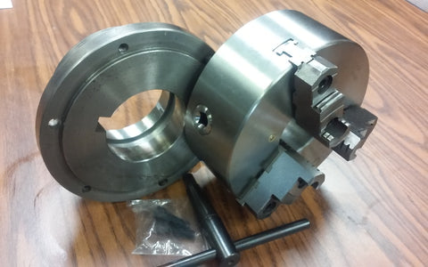 "8"" 3-JAW SELF-CENTERING LATHE CHUCK top & bottom jaws, w. L1 adapter back plate"