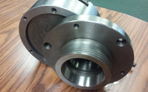 "6"" 6-JAW SELF-CENTERING LATHE CHUCK, top&bottom jaws, w. L00 adapter back plate"