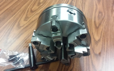 "8"" 6-JAW SELF-CENTERING LATHE CHUCK w. top&bottom jaws, L00 adapter back plate"
