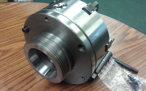 "8"" 6-JAW SELF-CENTERING LATHE CHUCK w. top&bottom jaws, L0 adapter back plate"