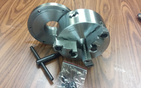 "6"" 3-jaw self-centering chuck with top&bottom jaws w. 2-1/4"" adaptor plate"