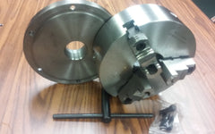 "10"" 3-jaw self-centering chuck top&bottom jaws w. 2-1/4""-8 adapter plate"