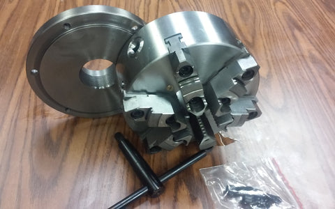 "8""  6-jaw self-centering lathe chuck top&bottom jaws w. 2-1/4""-8 adapter plate"