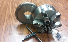 "6"" - 6 jaw self-centering lathe chuck with 1-1/2""-8 back mounting adapter plate."