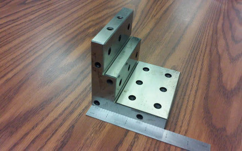 "ANGLE PLATE 4x4x4"" stepped,Precision Ground w. tapped holes 0.0002"" #PGAP-4-IN"