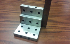 "ANGLE PLATE 3x3x3"" stepped,Precision Ground w. tapped holes 0.0002"" #PGAP-3-IN"