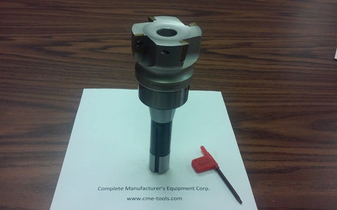 "2-1/2"" 90 degree indexable face milling cutter (nickel finished) with 4 APKT inserts  w. R8 arbor  4 flutes  3/4"" bore"