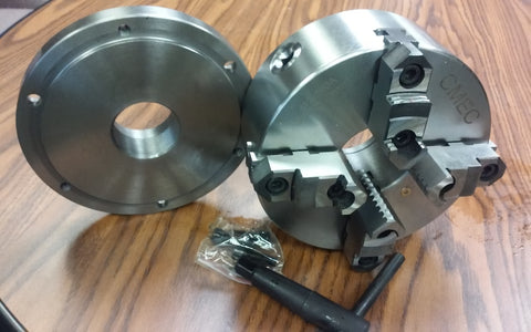 "8"" 4-Jaw Self-Centering Lathe Chuck w. 2-1/4""-8 adaptor back mounting plate-new"