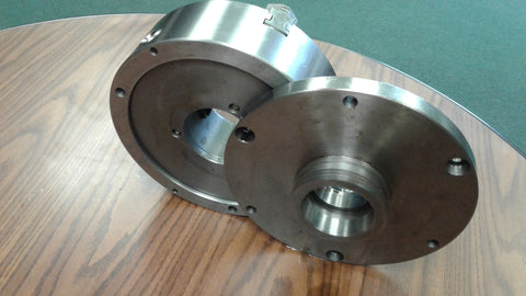 "10"" 3-JAW SELF-CENTERING LATHE CHUCK top&bottom jaws w. L00 back adapter plate"