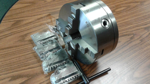 "10"" 4-JAW SELF-CENTERING LATHE CHUCK w. L00 adapter back plate, 4 extra jaws"