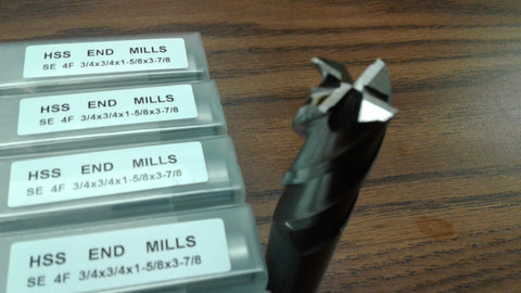 "10pcs 3/4"" 4 Flute S/E Premium M2 HSS end mills,center-cutting#1009H-New"