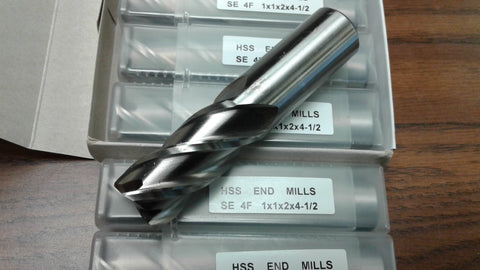 "10pcs 1"" 4 Flute S/E Premium M2 HSS end mills,center-cutting#1009I--new"