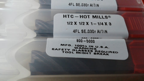 "5pcs High performance 4-flute variable indexed 1/2"" Carbide HOT Mills Tialn coated- made in USA"