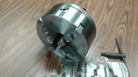 "10"" 4-JAW SELF-CENTERING LATHE CHUCK w. L1 adapter plate, extra solid jaws"