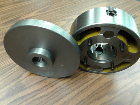 "8"" 4-JAW LATHE CHUCK w. independent jaws w. 1-1/2""-8 adapter semi-finish#0804F0"